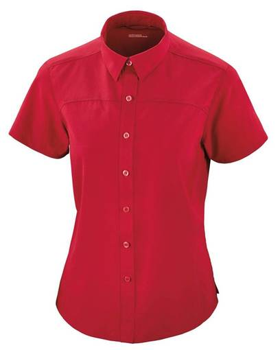 ash city - north end sport red 78675 ladies' charge recycled polyester performance short-sleeve shirt front image