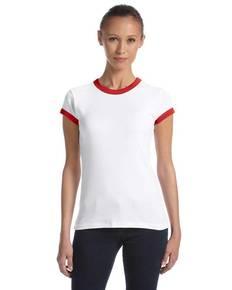 Bella 1007 Ladies' Baby Rib Short-Sleeve Ringer T-Shirt