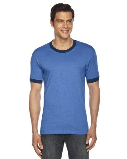 american apparel bb410 unisex poly-cotton short-sleeve ringer t-shirt front image