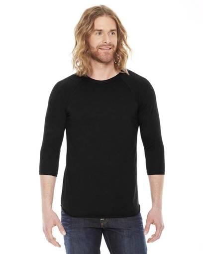 american apparel bb453 unisex poly-cotton usa made 3/4-sleeve raglan t-shirt Front Fullsize