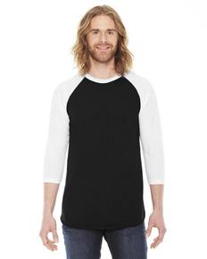 American Apparel BB453 Unisex Poly-Cotton USA Made 3/4-Sleeve Raglan T-Shirt