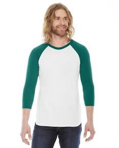 American Apparel BB453 Unisex Poly-Cotton USA Made 3/4-Sleeve Raglan T-Shirt