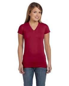 LAT 3607 Ladies' Junior Fit V-Neck Fine Jersey T-Shirt
