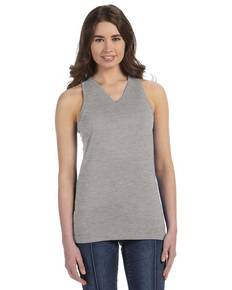 LAT 3624 LAT 3624 Juniors' Fine Jersey V-Neck Longer Length Racer Back Tank
