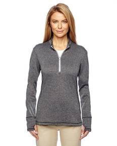 adidas Golf A275 Ladies' Heather 3-Stripes Quarter-Zip Layering