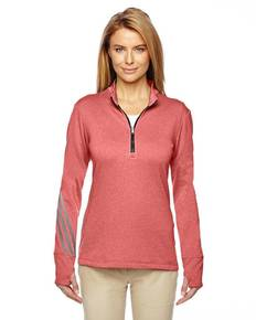 adidas Golf A275 Ladies' Heather 3-Stripes Quarter-Zip Layering