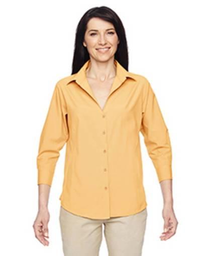 harriton m610w ladies' paradise 3/4-sleeve performance shirt front image