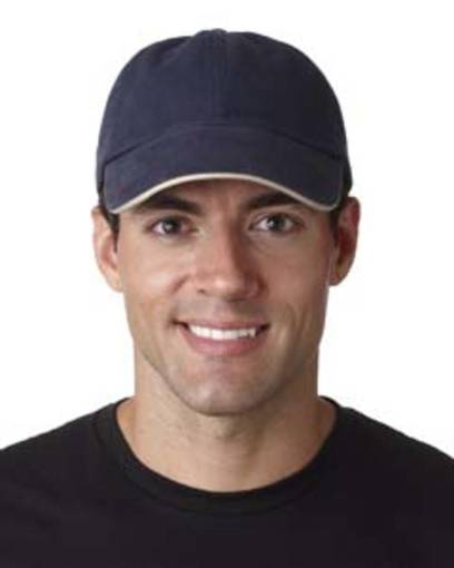 ultraclub 8112 adult classic cut brushed cotton twill unstructured sandwich cap front image