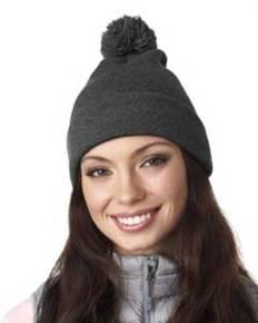 UltraClub 8136 Adult Knit Pom-Pom Beanie with Cuff