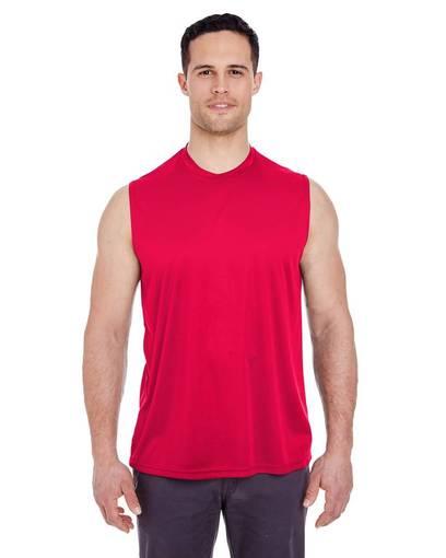 ultraclub 8419 adult cool & dry sport performance interlock sleeveless t-shirt front image