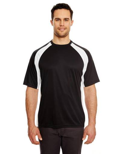 ultraclub 8421 adult cool & dry sport two-tone performance interlock t-shirt front image