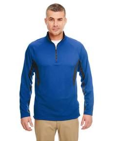 UltraClub 8434 Adult Cool & Dry Colorblock Dimple Mesh Quarter-Zip Pullover
