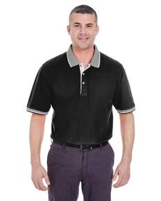 UltraClub 8537 Adult Color-Body Classic Piqué Polo with Contrast Multi-Stripe Trim