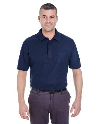 ultraclub 8544 adult whisper piqué polo with pocket Front Fullsize