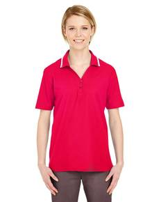 UltraClub 8546 Ladies' Short-Sleeve Whisper Piqué Polo with Tipped Collar