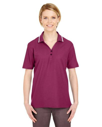 ultraclub 8546 ladies' short-sleeve whisper piquépolo with tipped collar front image