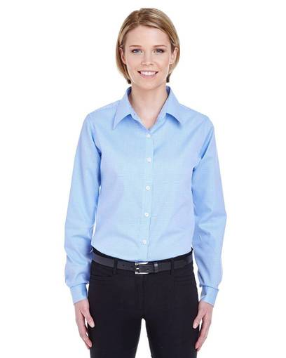 ultraclub 8996 ladies' yarn-dyed micro-check woven front image