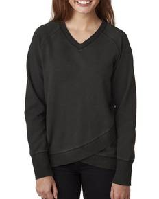 j-america-ja8666-ladies-39-oasis-wash-crisscross-v-neck-fleece