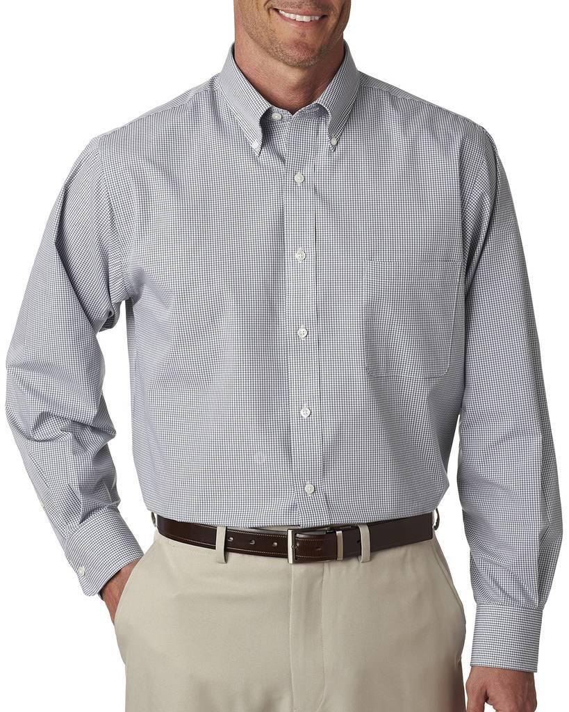 804c58cb292417 Van Heusen V0225 Men's Long-Sleeve Yarn-Dyed Gingham Check