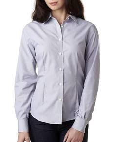 Van Heusen V0421 Ladies' Long-Sleeve Non-Iron Feather Stripe