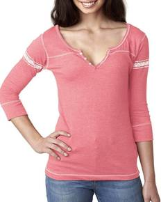 MV Sport W1454 Ladies' Hailey 3/4-Sleeve Henley