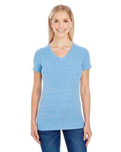 threadfast apparel 202b ladies' triblend short-sleeve v-neck t-shirt front image