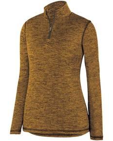 Augusta Sportswear 2957 Ladies' Intensify BlackHeather Quarter-Zip Pullover