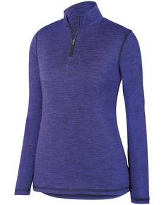 Augusta Drop Ship 2957 Ladies' Intensify Black Heather Quarter-Zip Pullover