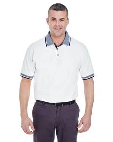UltraClub 8536 Adult White-Body Classic Piqué Polo with Contrast Multi-Stripe Trim
