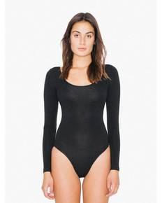 American Apparel SA8357W Ladies' Cotton Spandex Long Sleeve Double U-Neck Bodysuit