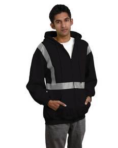 Bayside BA3737 9.5 oz., 80/20 Hi-Visibility Segmented Striping Full-Zip Hooded Sweatshirt