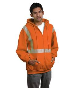 Bayside BA3737 9.5 oz., 80/20 Hi-Visibility Segmented Striping Full-Zip Hooded Sweatshirt