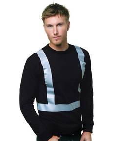 Bayside BA3761 6.1 oz., 100% Cotton Hi-Visibility Solid Striping Long Sleeve T-Shirt