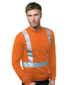 Bayside BA3761 6.1 oz., 100% Cotton Hi-Visibility Solid Striping Long Sleeve T-Shirt
