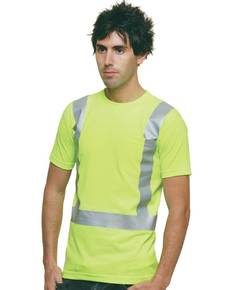 Bayside BA3771 6.1 oz., 100% Cotton Hi-Visibility Solid Striping Pocket T-Shirt