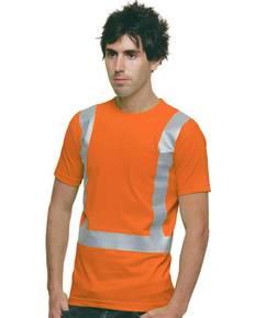 Bayside BA3771 6.1 oz., 100% Cotton Hi-Visibility Solid Striping Pocket T-Shirt