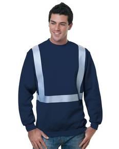 Bayside BA3792 80/20 Heavyweight Hi-Visibility Solid Striping Crewneck Sweatshirt