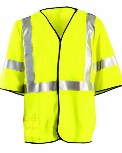 occunomix luxhsg3 men's classic flame resistant single stripe class 3 solid vest Front Fullsize