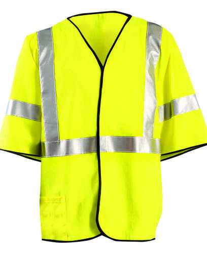 occunomix luxhsg3 men's classic flame resistant single stripe class 3 solid vest front image