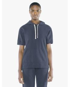 American Apparel TF424W Unisex French Terry Garment-Dyed Kangaroo Pocket Short-Sleeve Hooded Sweatshirt