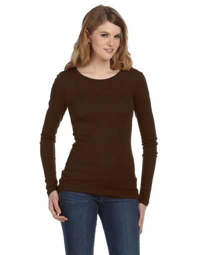 bella + canvas 8751 ladies' sheer mini rib long-sleeve t-shirt front image
