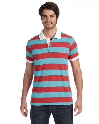 alternative aa1905 men's ugly stripe short-sleeve polo front image