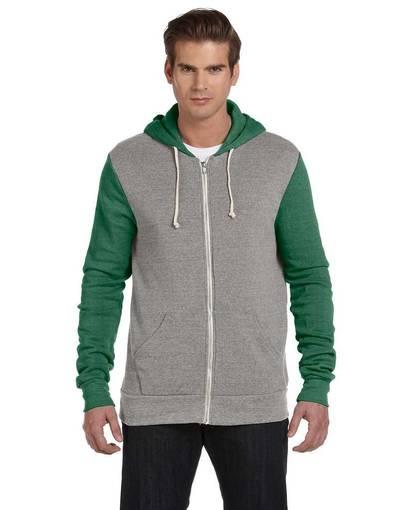 alternative aa3203 unisex rocky eco-fleece colorblocked hoodie front image
