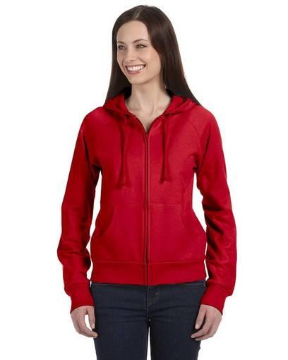 bella + canvas b7007 ladies' fleece full-zip raglan hoodie front image