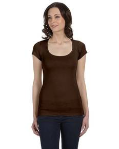 Bella + Canvas B8703 Ladies' Sheer Mini Rib Short-Sleeve Scoop Neck T-Shirt