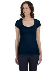 Bella + Canvas B8703 Ladies' Sheer Mini Rib Short-Sleeve Scoop Neck T-Shirt
