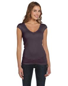 Bella + Canvas B8705 Ladies' Sheer Mini Rib Cap-Sleeve Deep V-Neck T-Shirt