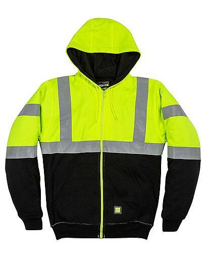 berne hvf023 men's hi-vis class 3 color block hooded sweatshirt Front Fullsize