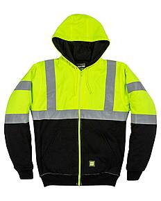 Berne HVF023 Men's Hi-Vis Class 3 Color Block Hooded Sweatshirt