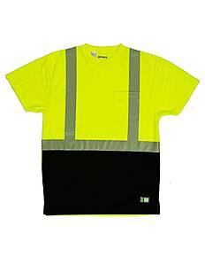 Berne HVK017 Unisex Hi-Vis Class 2 Color Blocked Pocket T-Shirt